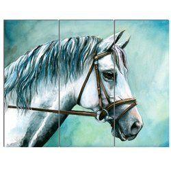 Gray Horse On Blue Background 3 Piece Wall Art On Wrapped Canvas Set Sanatsal Tablolar Atlar