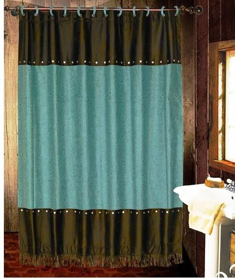 Cheyenne Turquoise Faux Leather Shower Curtain With Images