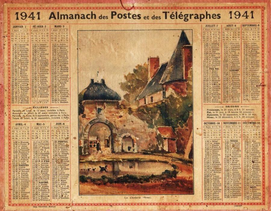 calendrier annee 1941