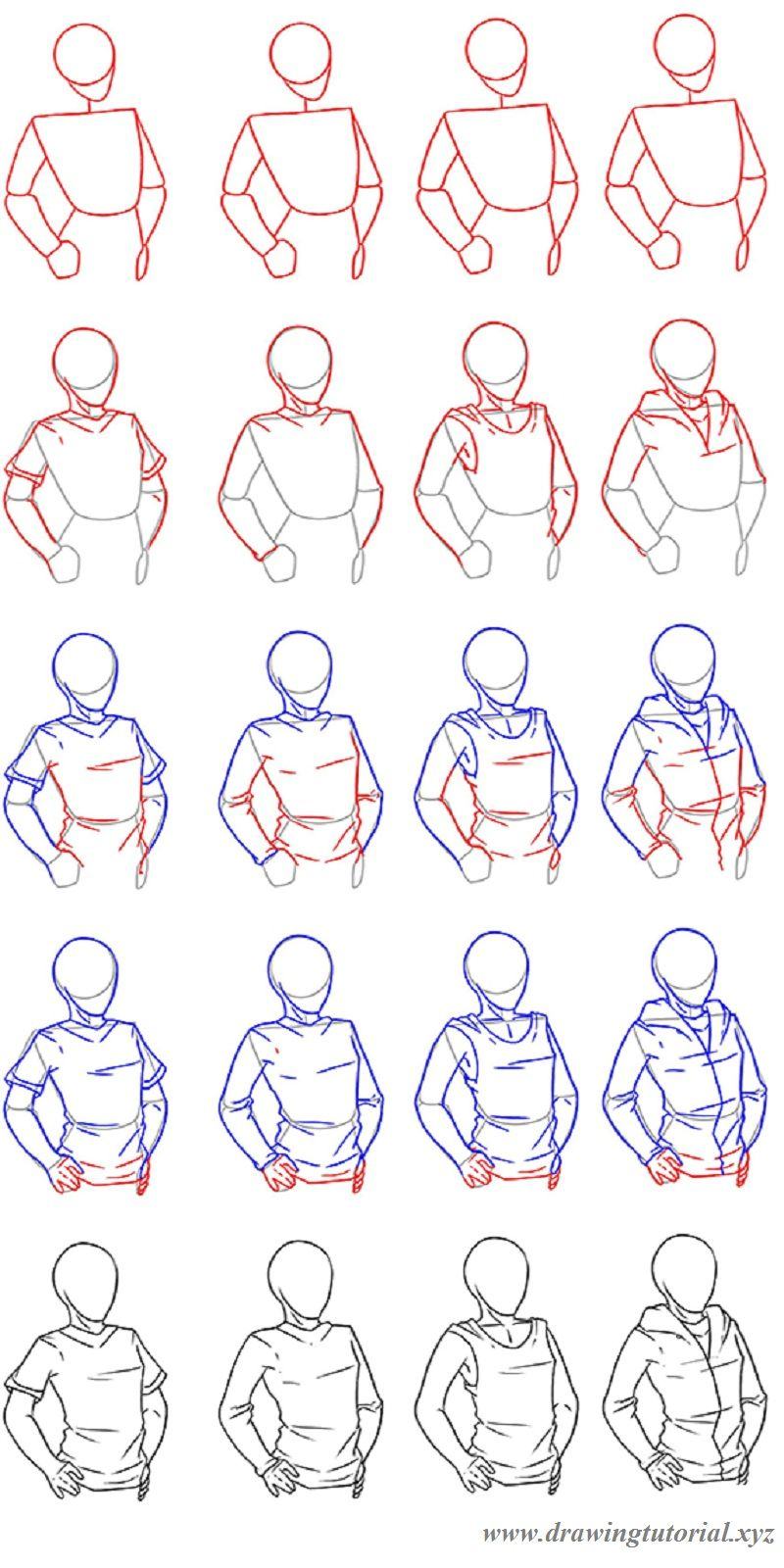 How To Draw Clothing How To Draw A Man Or A Woman Wearing A T Shirt A Top Or A Hoodie Step By Step Tutorial Drawi Lips Drawing Drawings Drawing Tutorial