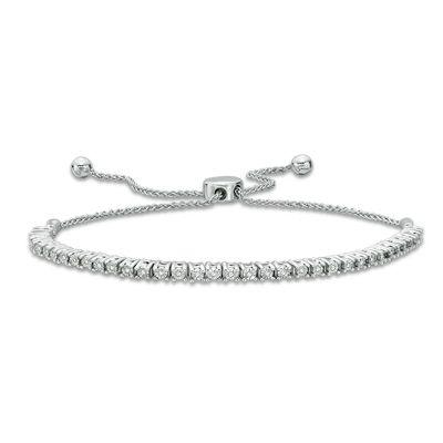 T.W. Diamond Lined Bolo Bracelet in Sterling Silver - 9.5