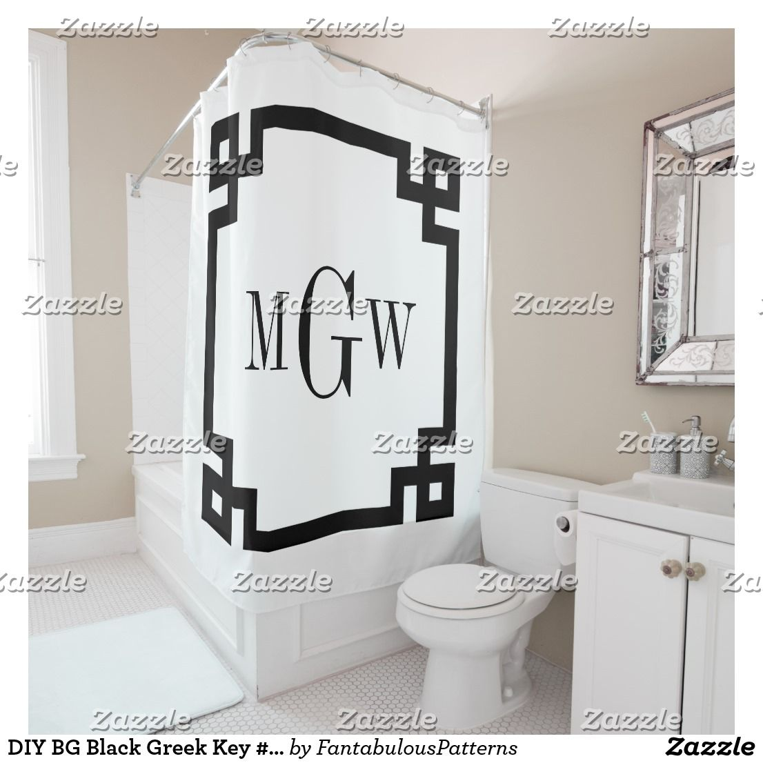 DIY BG Black Greek Key 2 Framed 3I Monogm Shower Curtain