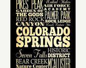 ON SALE Colarado Springs, Colorado, Typography Art Poster / Bus/ Transit / SubwayRollArt18X24-ColaradoSprings' AttractionsWallArtDecoration-