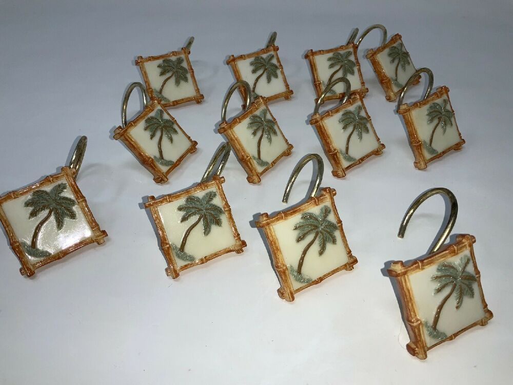 Set 12 Resin Palm Tree Breeze Vintage Shower Curtain Hooks Rattan
