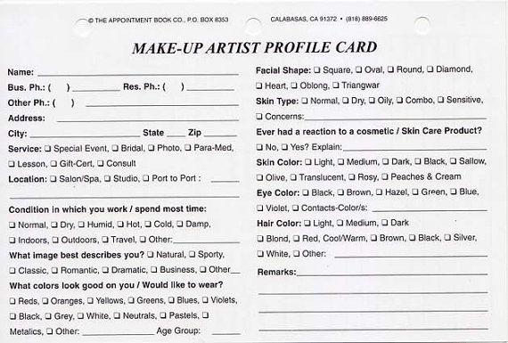 MakeUp Artist Client Profile AtAGlance Binder by