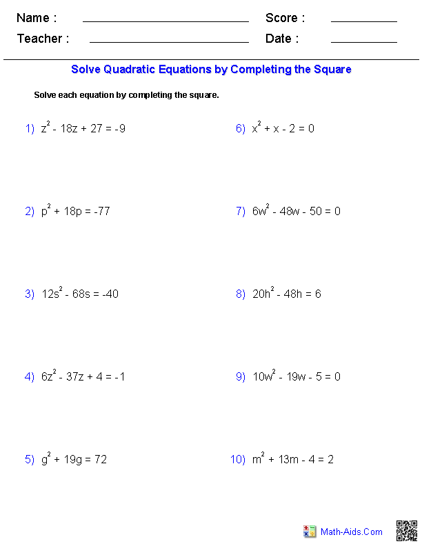 Solving Quadratic Equations By Completing the Square | Math-Aids.Com ...
