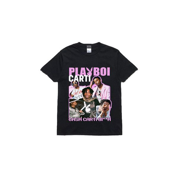 71badef3a PLAYBOI CARTI ($33) ❤ liked on Polyvore featuring tops, t-shirts, cotton  tees and cotton t shirts