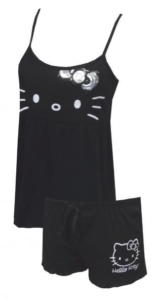 Hello Kitty Bring the Bling Babydoll Shortie PJ Set, $22 Who says bedtime cant have some bling? This set is just so adorable, we think everyone should have it! This shortie pajama set for women features the lovable Hello Kitty with a big, silver and black sequin bow on the babydoll cut top, with spaghetti straps in a comfy 60% cotton, 40% polyester jersey blend. The sleep shorts have a drawstring tie and a super cute ruffled bottom edge. Seems perfect for a sleepover!