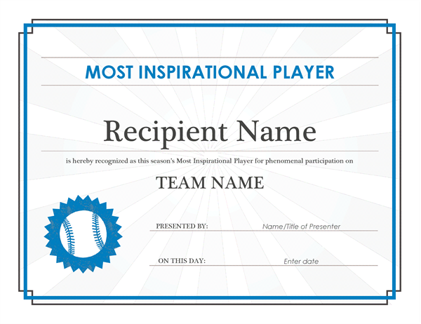 most inspirational player award certificate editable title
