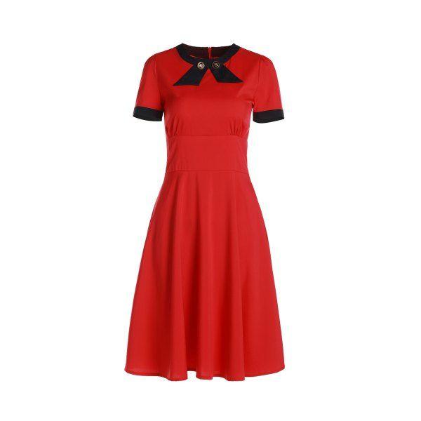 Vintage Short Sleeve Women S Round Neck Button Embellished Dress Red M Embellished Dress Vintage Dresses Cheap Fashion Dresses Casual