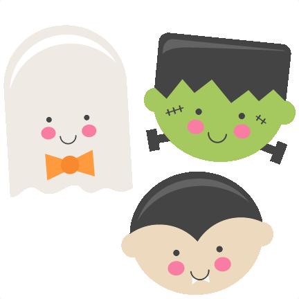 Cute Halloween Monsters Ghost Vampire Frankenstein SVG scrapbook ...