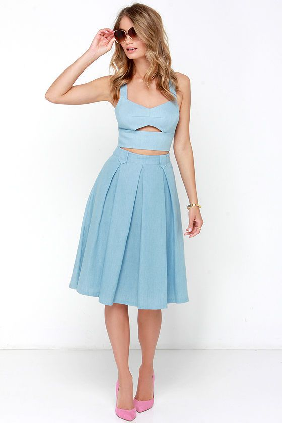 Sashay This Way Blue Chambray Two-Piece Dress at Lulus.com!