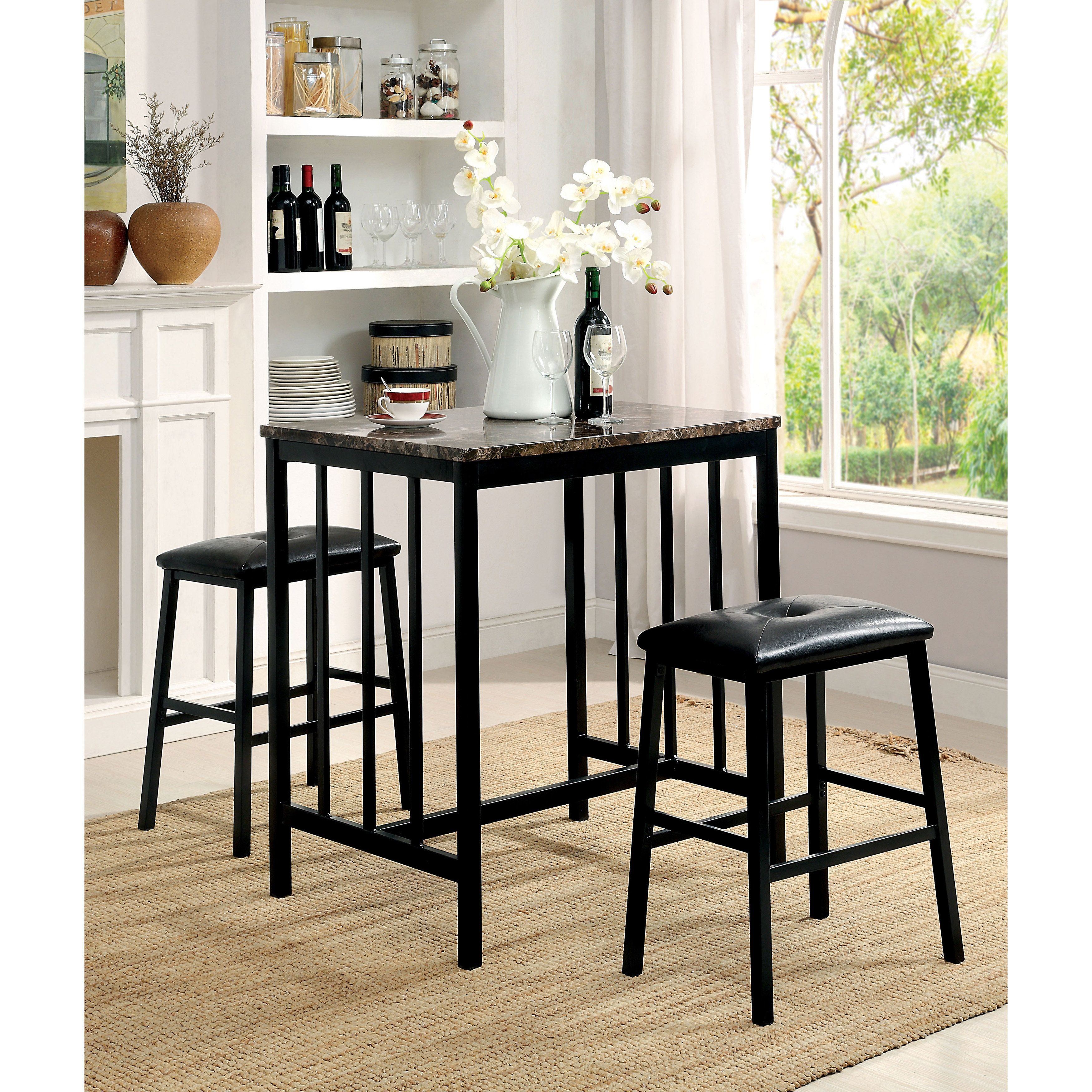 Furniture Of America Correnzo Contemporary 3 Piece Faux Marble Top Counter  Height Dining Set (