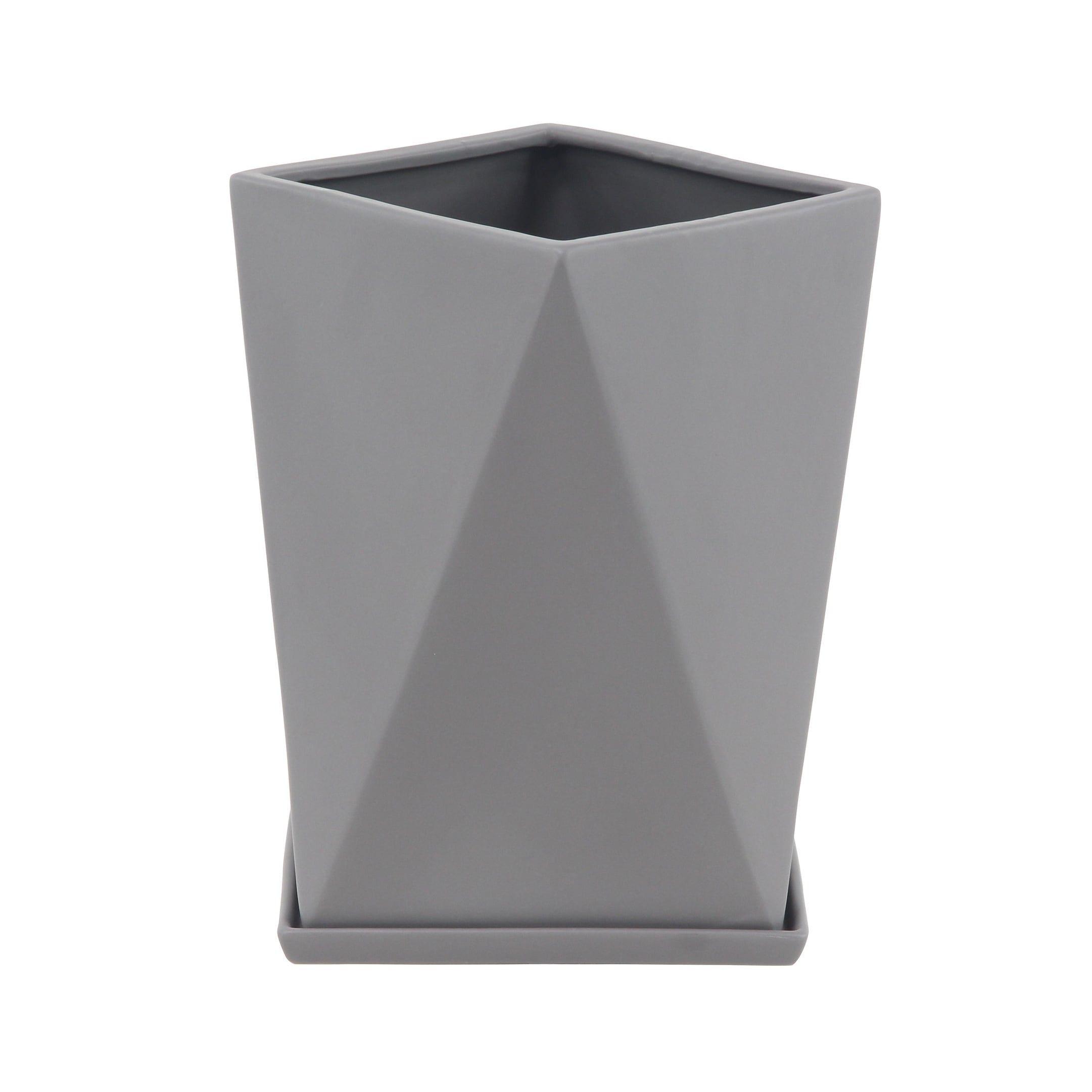 Modern Geometric Slate Gray Ceramic Indoor & Outdoor Planter 12″ x 13″, Outdoor Décor