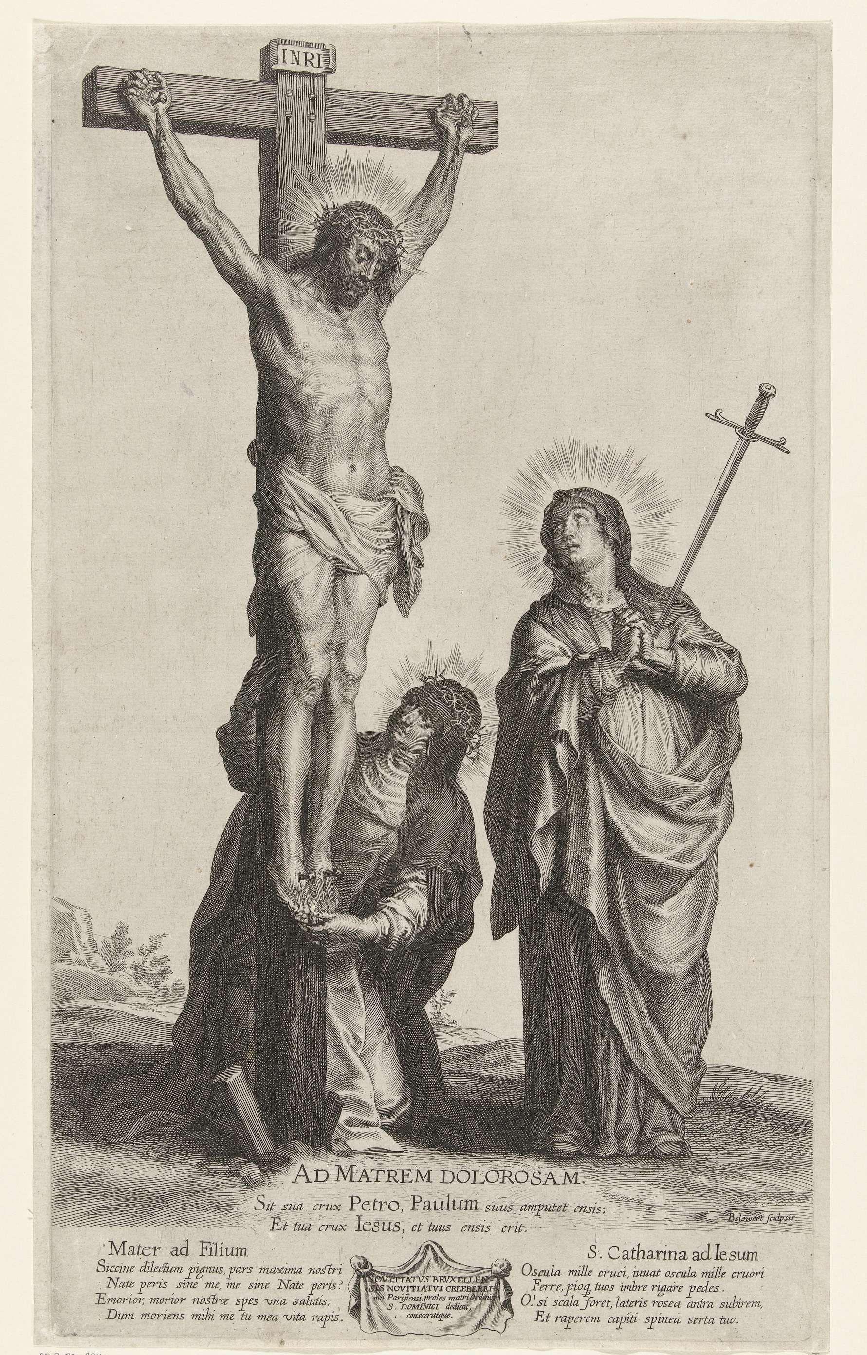 Christus aan het kruis, met Maria en  de H. Catharina, Boëtius Adamsz. Bolswert, 1590 - 1633