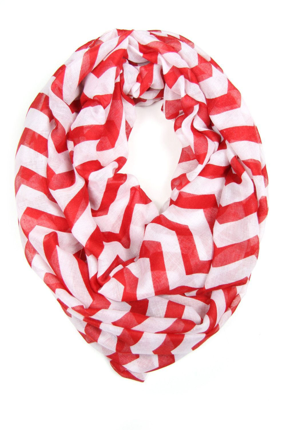Cherry Red Chevron Infinity Scarf from Necklush