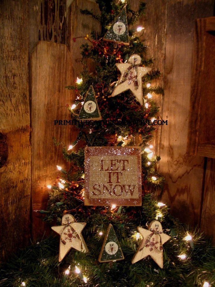 7 primitive christmas tree star snowmen snowflakes let it snow sign ornies - Primitive Christmas Ornaments