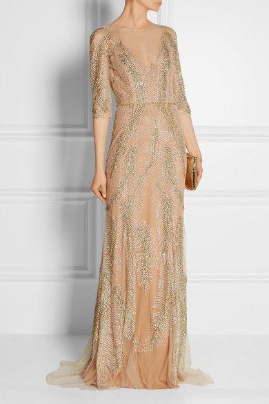 Altrosa Verzierte Tullrobe Jenny Packham Langarm Kleid Event Kleider Langes Abendkleid