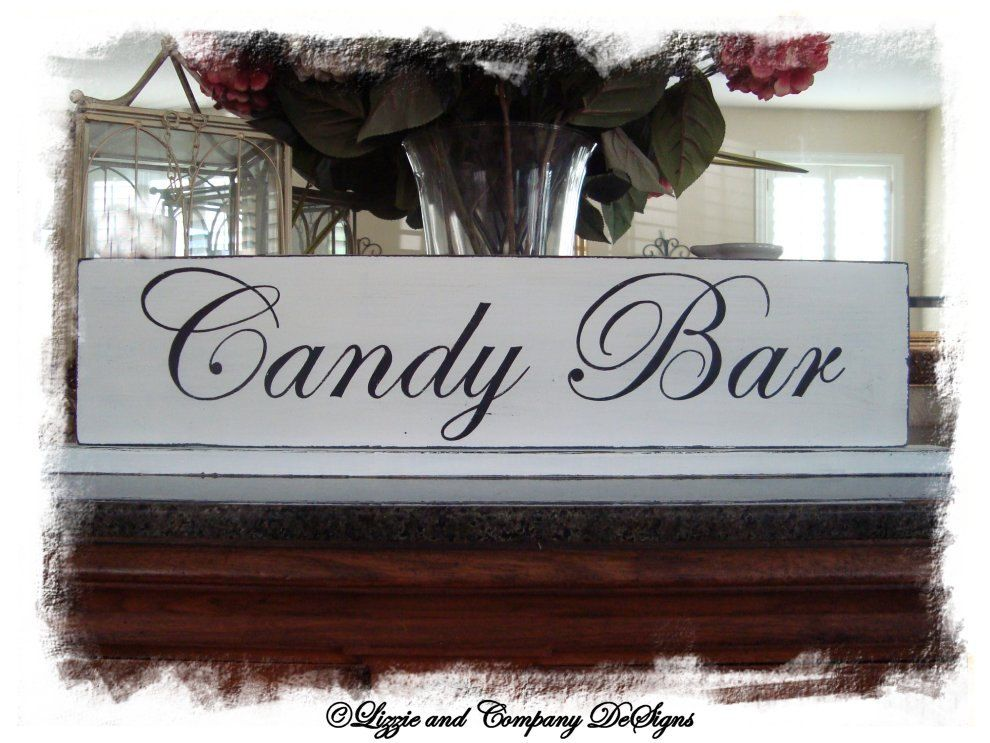Candy Bar Sign Wedding Table Cupcake Dessert 25 X 7 Shabby And Primitive