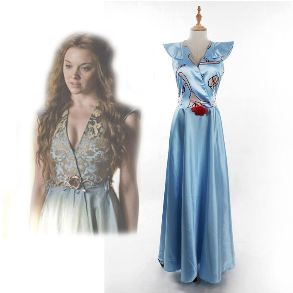 Game of Thrones Margaery Tyrell Blue Dress Cosplay Costume Adult ...