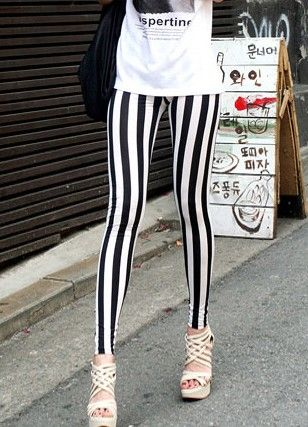 Fashionable  Personality Stripe Elastic-waist Tight Leggings