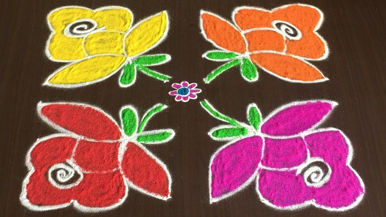 Beautiful Rose Rangoli Designs With 8 To 8 Easy Colours Flower Kolam Colorful Rangoli Designs Rangoli Designs Flower Rangoli