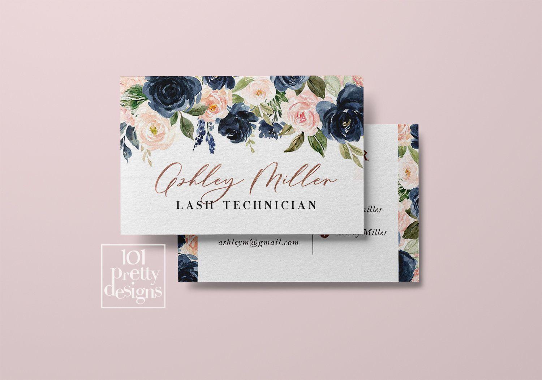 Floral Business Card Design Printable Business Card Watercolor Flowers Business Card Design Hair Stylist Makeup Artist Lash Specialist Printable Business Cards Floral Business Cards Business Cards Watercolor