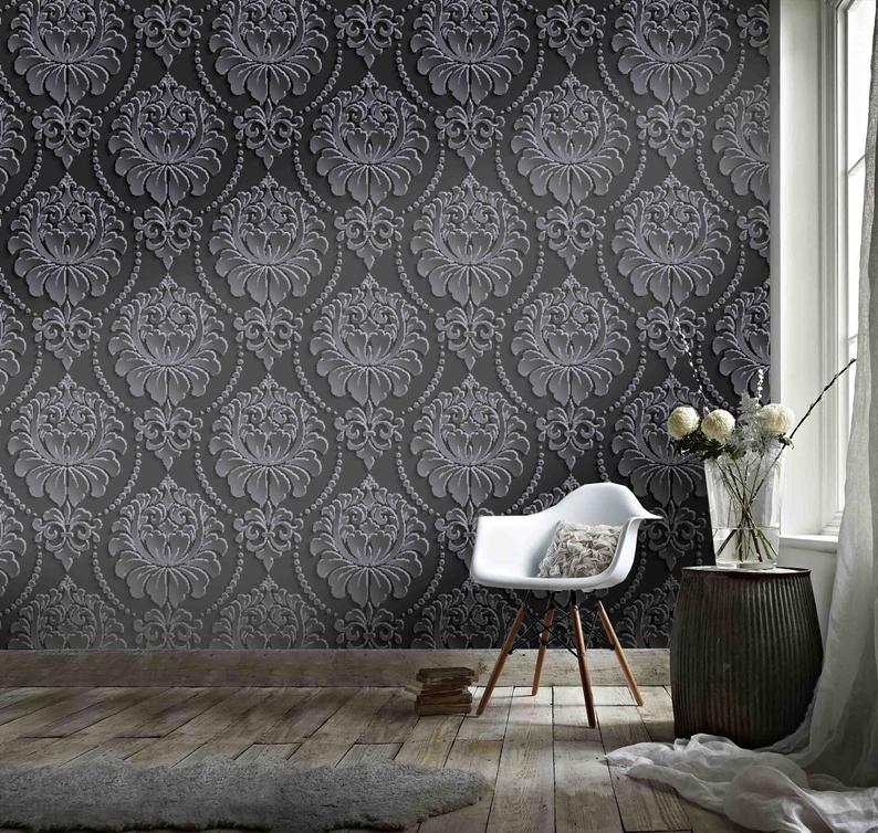 3d National Style Black Pattern Wallpaper Removable Self Etsy Embossed Wallpaper Pattern Wallpaper Wall Wallpaper