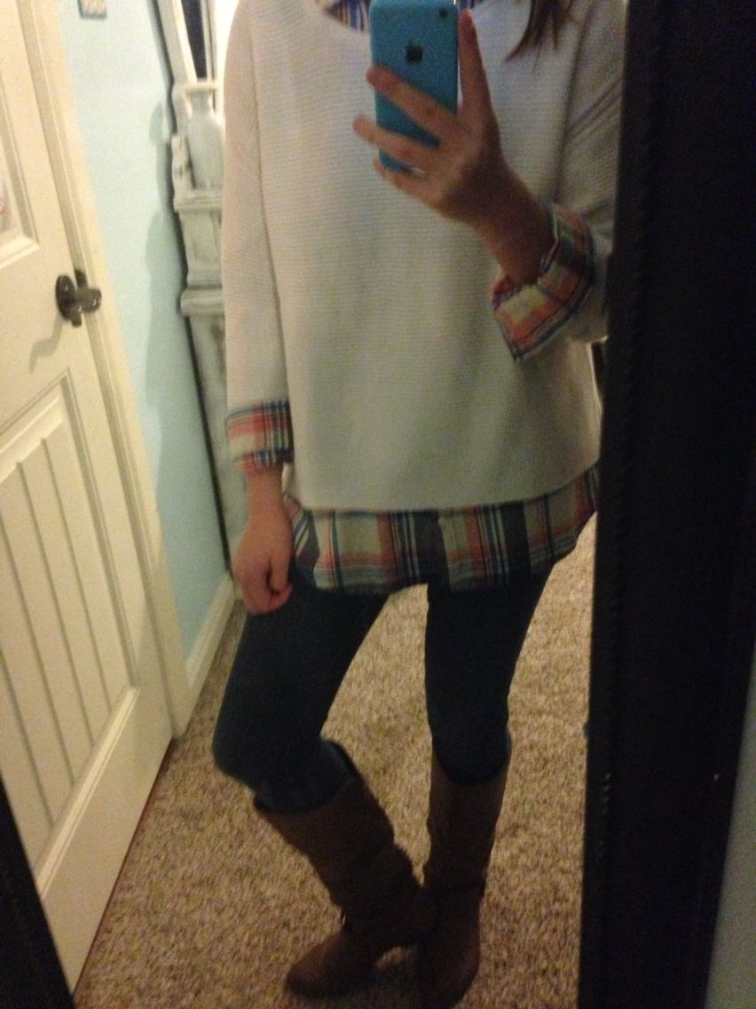 Cute flannel shirt plus sweater