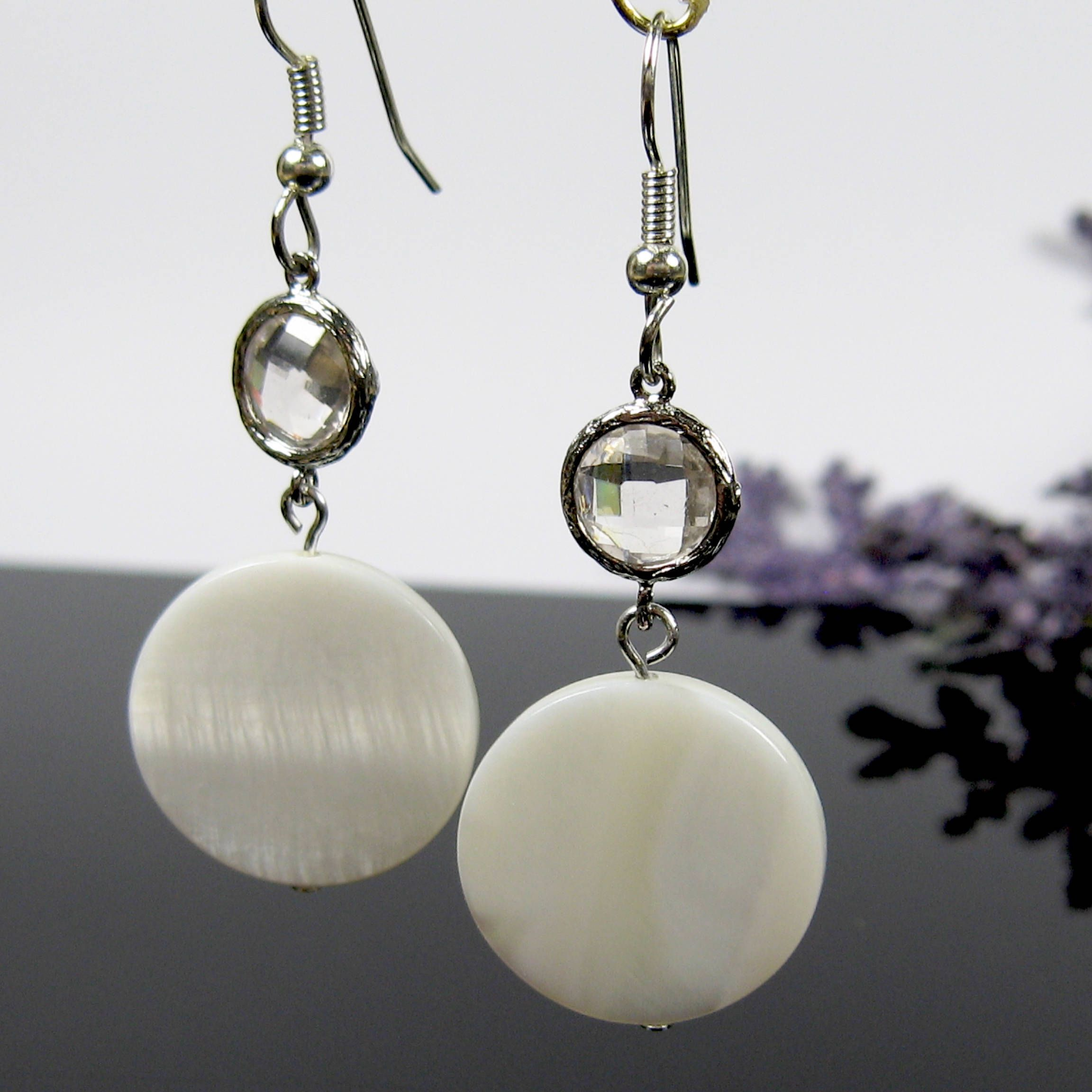 Mother Of Pearl Earrings Surgical Steel Off White Round Dangle Crystal Bridesmaids Nickel Free By Andesbeads On