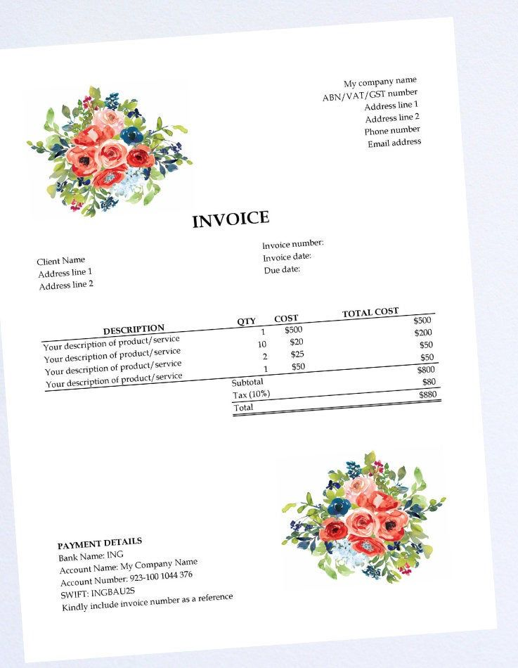 Excel Invoice Template Receipt Bill Business Invoice Etsy Invoice Template Printable Day Planner Templates