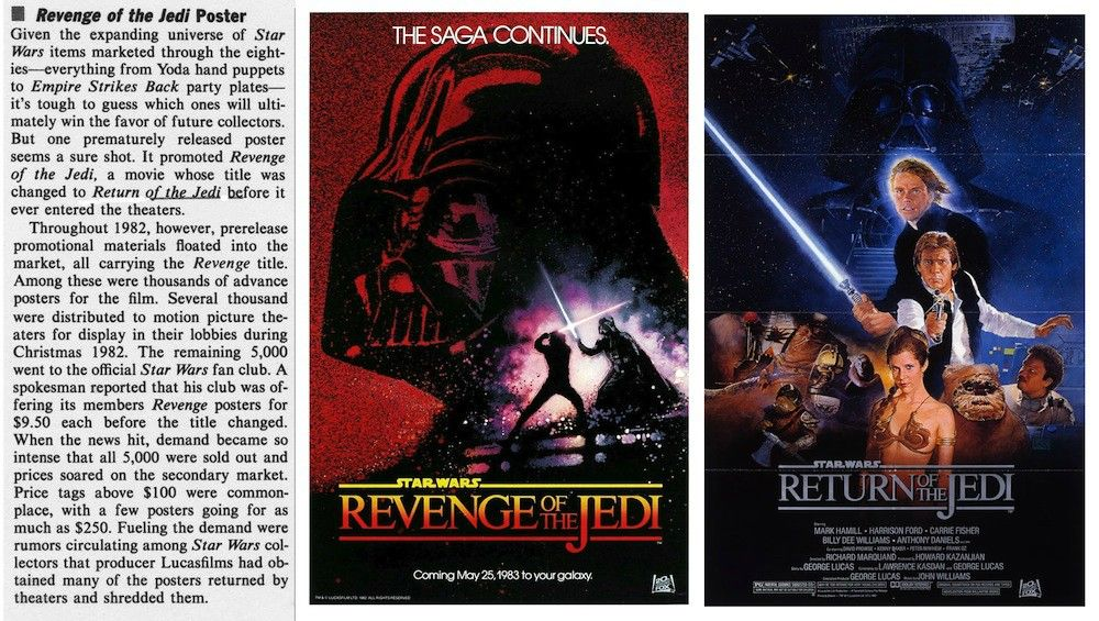 """The Academy — The Original """"Return Of The Jedi"""" Poster (When It Was Called """"Revenge Of The Jedi"""")"""