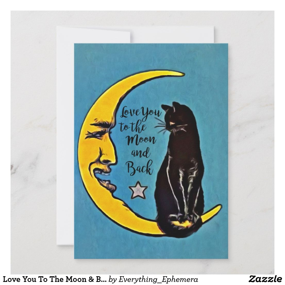 Love you to the moon back black cat card