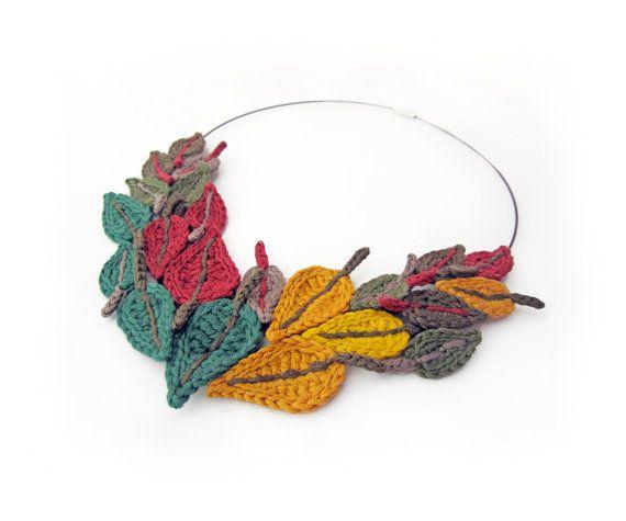 Häkeln Halskette Blatt häkeln Halskette von GiadaCortellini auf Etsy ...