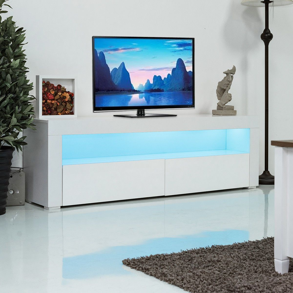 High Gloss White Led Tv Stand White Tv Stands Console Furniture