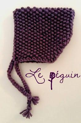 Fée du tricot  Petit bonnet Béguin  tuto inside    Bebek örgüleri ... 3a7bf52d97f