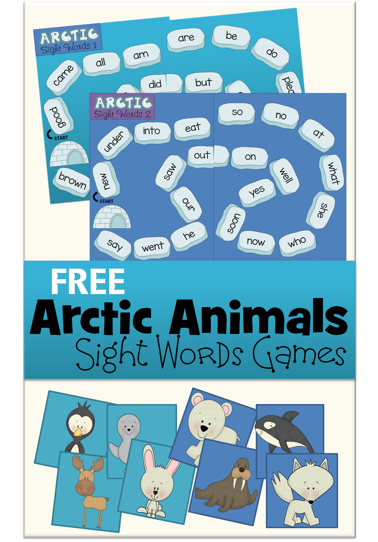 Arctic Animals Sight Words Game Arctic animals, Sight