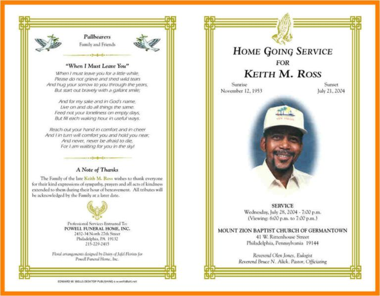 Free Printable Obituary Templates Blank Funeral Program With