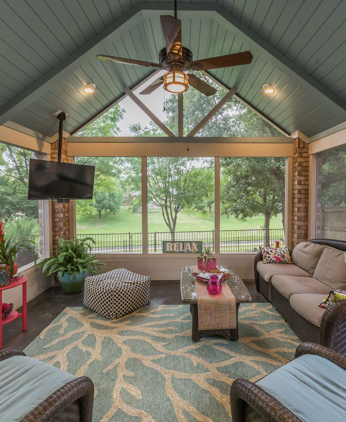 Gable Roof Screened In Porch With Vaulted Ceiling Screened Porch Designs Porch Design Sunroom Designs