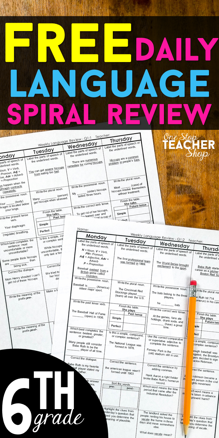 FREE 6th Grade Language Homework or Daily Grammar Review. This 6th grade  Language Spiral…   Teaching middle school reading [ 1440 x 720 Pixel ]