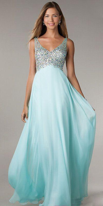 tiffany blue prom dress, v neck prom dresses, long prom dress, off ...