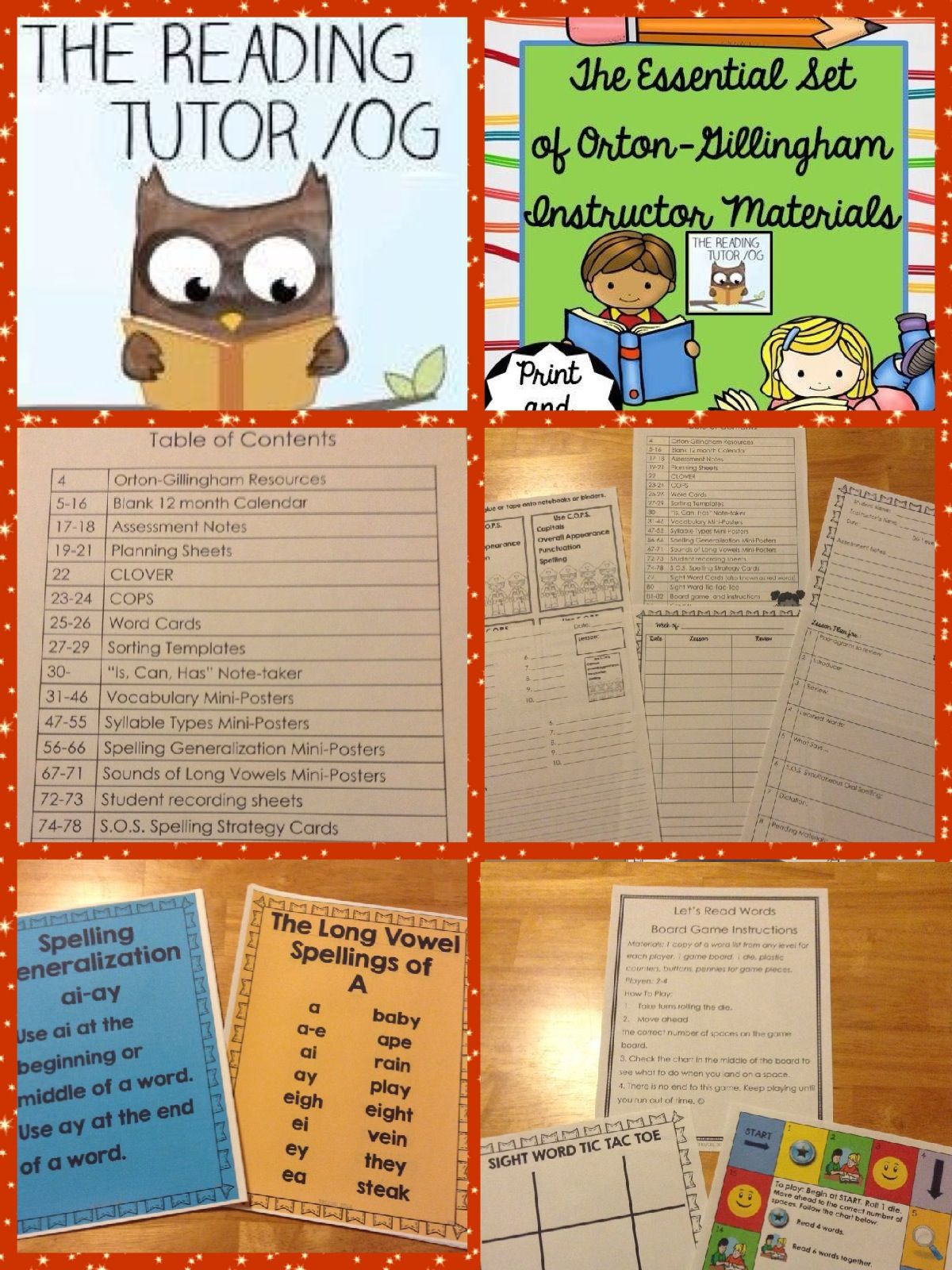 Orton Gillingham Materials For Lesson Planning And