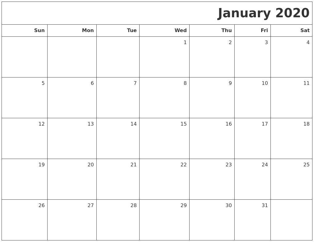 Printable Blank 2020 Calendar Di 2020