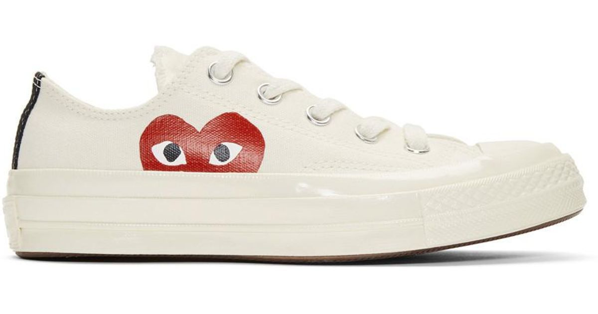 Comme Des Garcons Natural Comme Des Garcons Play X Converse Chuck Taylor Hidden Heart Low Top Sneaker Chucks Style Off White Converse Sneakers