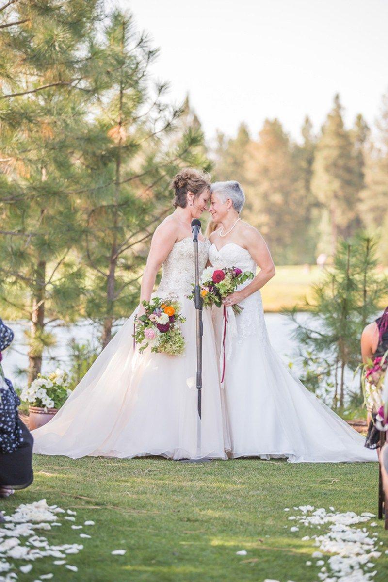 A beautiful wedding as seen on @offbeatbride #outdoor #wedding #lgbt