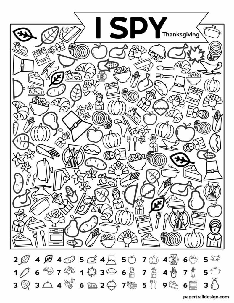 Free Printable I Spy Thanksgiving Activity - Paper Trail Design