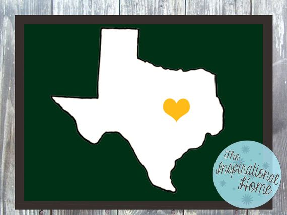 Customizable #Texas with A Heart Print Digital File by TheInspirationalHome, $15.00 #BaylorBears #homedecor #walldecor