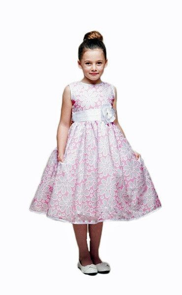 d39011e35a1e Crayon Kids Pink White Flower Girls' Party Dress with Sheer Overlay Pink  And White Dress