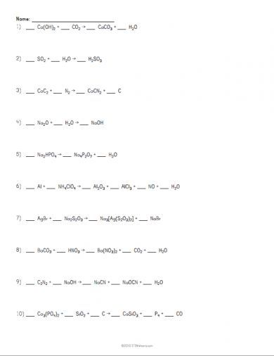Balancing Chemical Equations Worksheet Example химия Pinterest