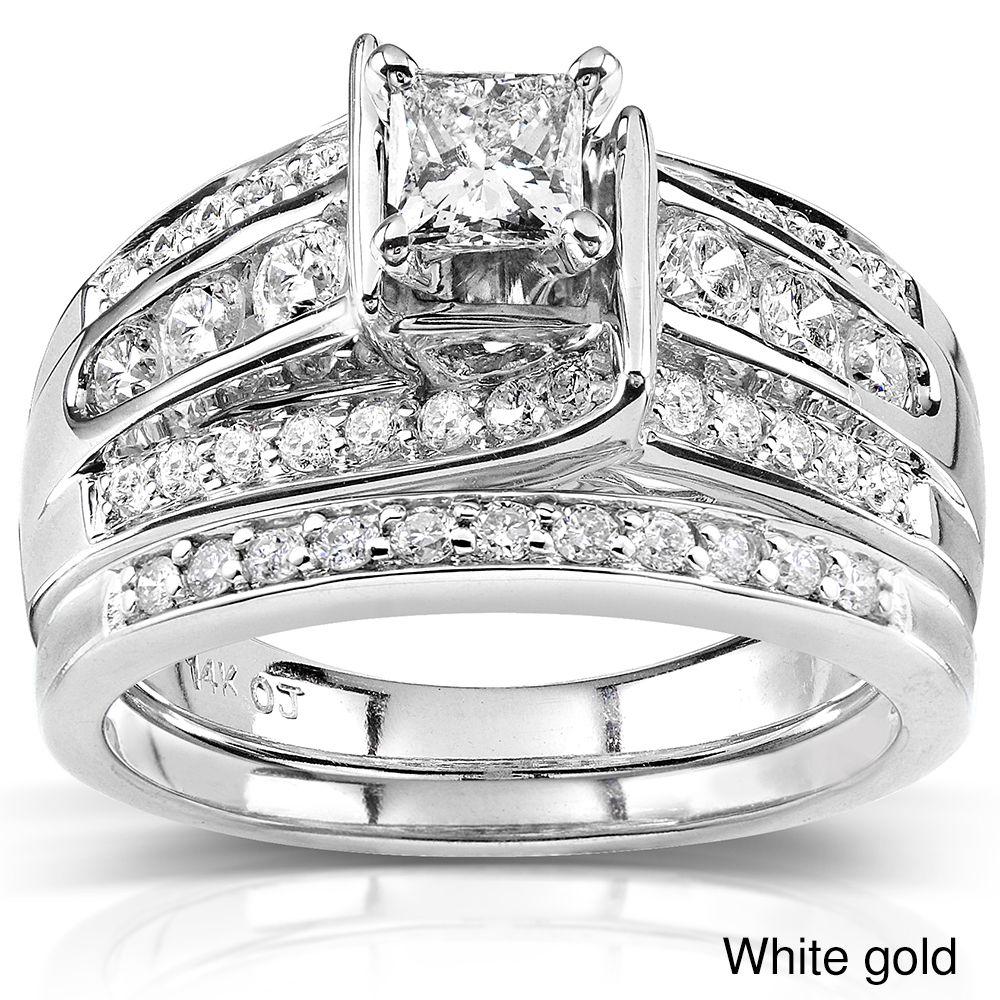 White Diamond Bridal Ring Set14 Karat White Gold Or 14